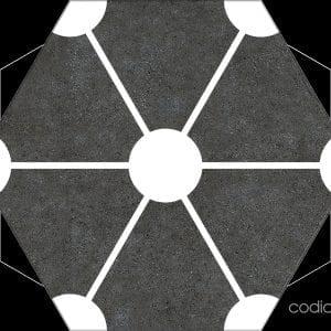 Hex 25 Atom Black Hexagonal 22×25