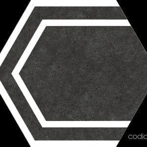 Hex 25 Labyrinth Black Hexagonal 22×25