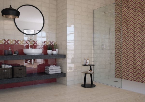 Atmosphere ruby 12,5×25. Atmosphere ivory 12,5×25. Decor ask ruby 12,5×25. Belfast maple 20×120.